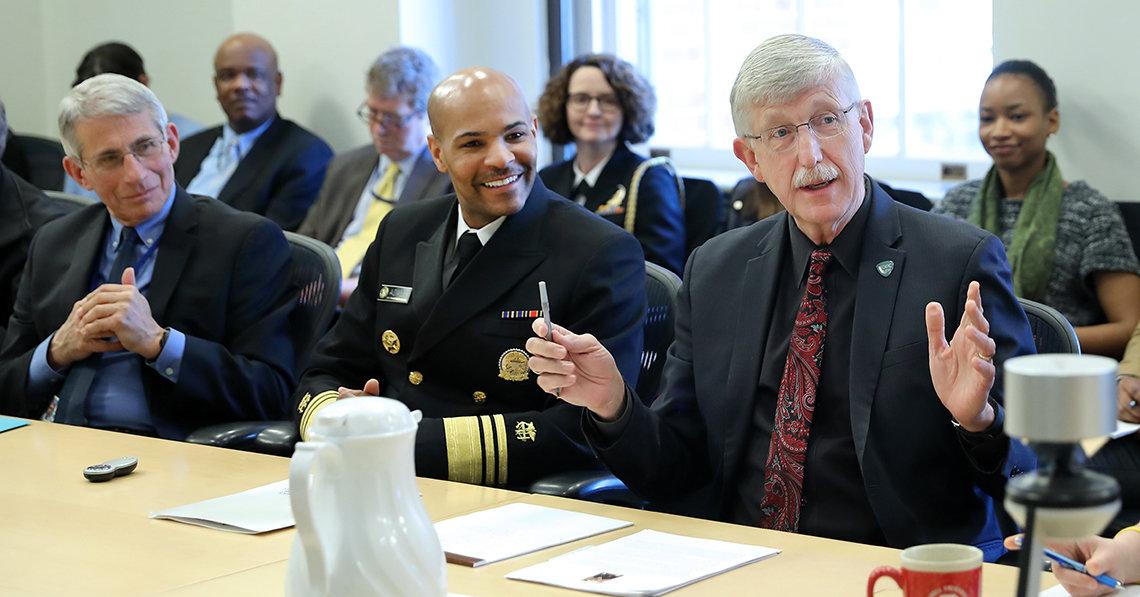 Drs. Fauci, Adams listen to Collins speak in briefing