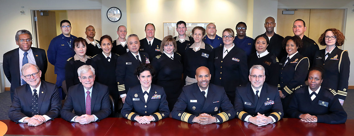 New surgeon general in group shot with NIH Commissioned Corps members and NIH intramural leaders