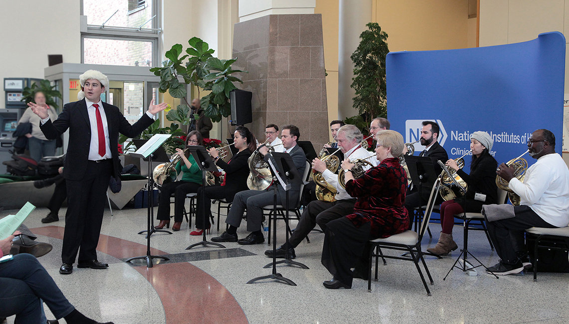 NSO and NIH horn players perform holiday songs in CC atrium