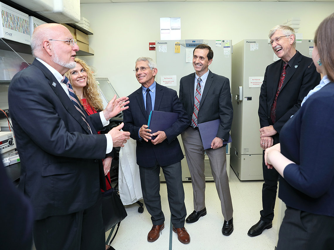 Redfield and Amanda Campbell meet with Dr. Anthony Fauci, Dr. John Mascola and Dr. Francis Collins.