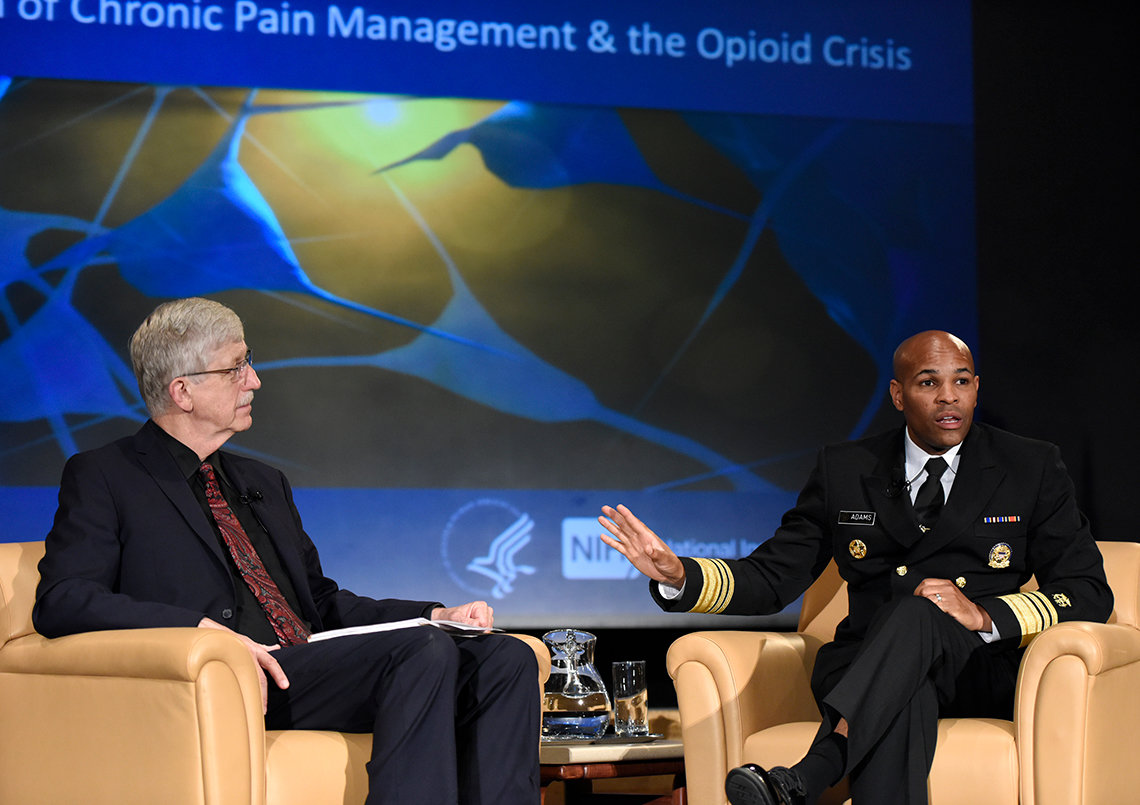 NIH director Dr. Francis Collins and Adams discuss chronic pain at fireside chat.