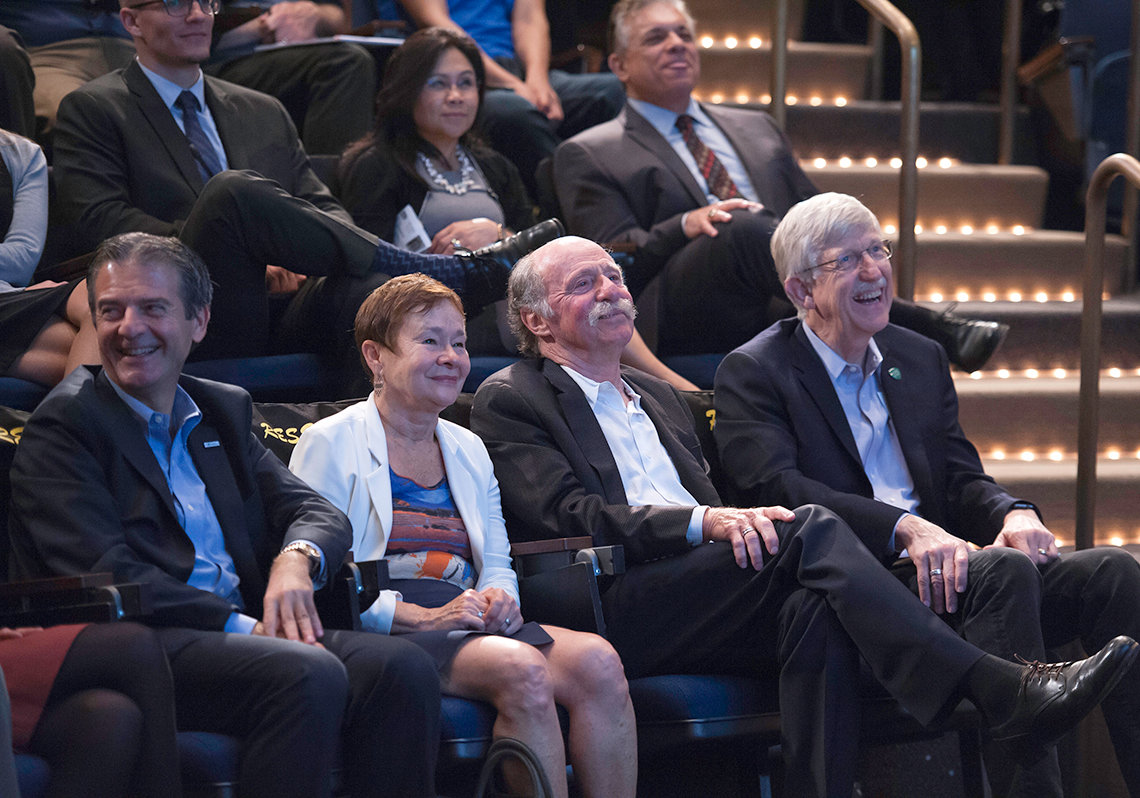 Dr. Constantine Stratakis, Brenda Hanning and her husband Dr. Howard Gadlin, and Dr. Francis Collins.