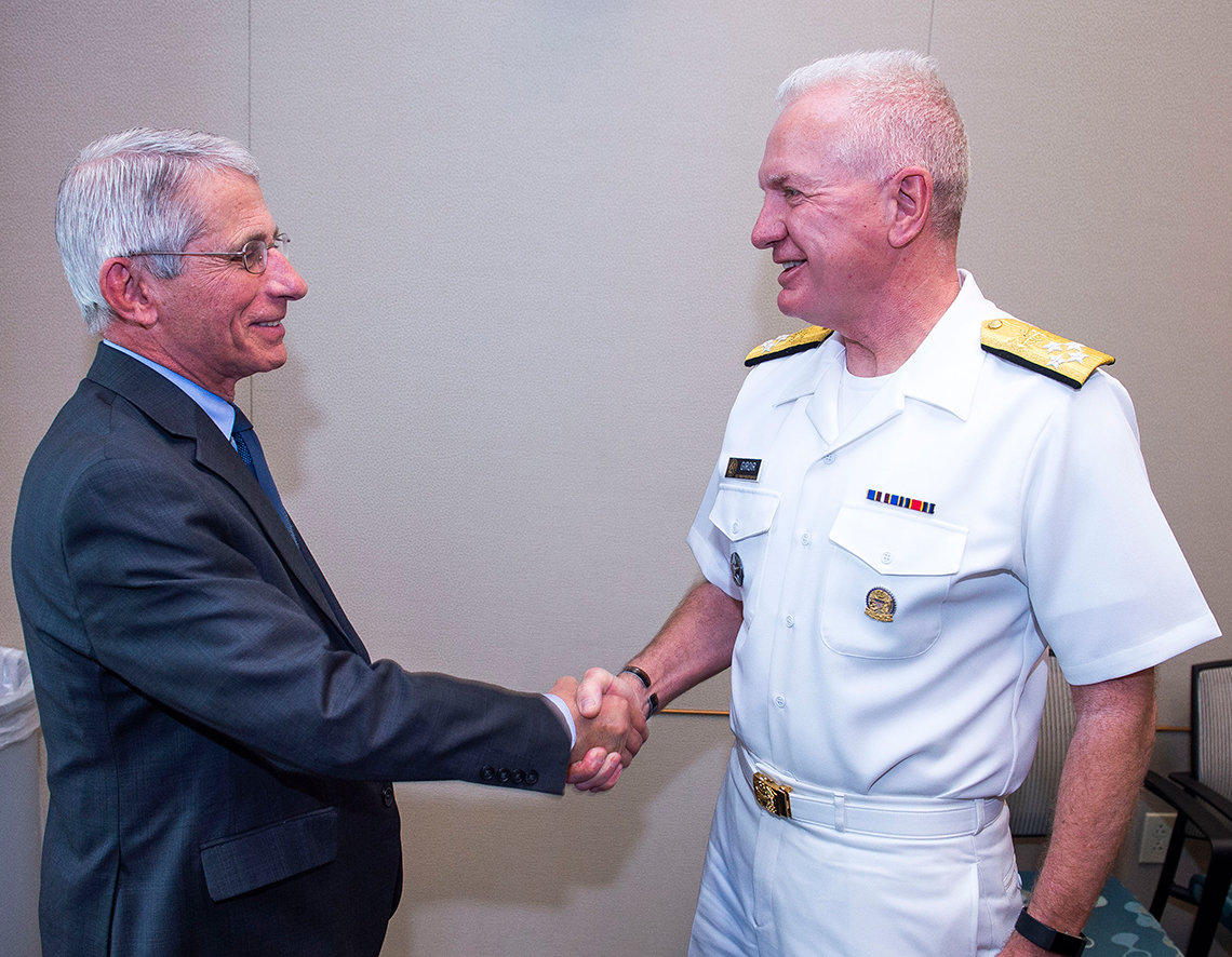 NIAID director Dr. Anthony Fauci welcomes Giroir to NIH.