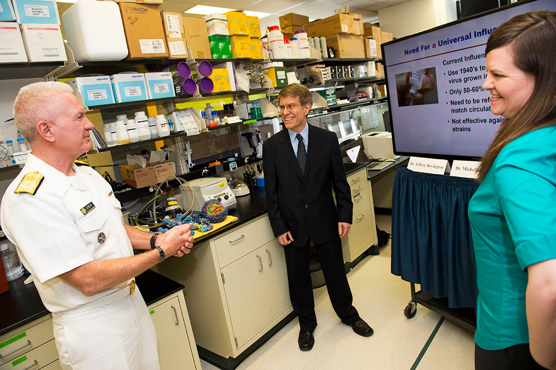 Giroir with Dr. Jeffrey Boyington and Dr. Michelle Crank.