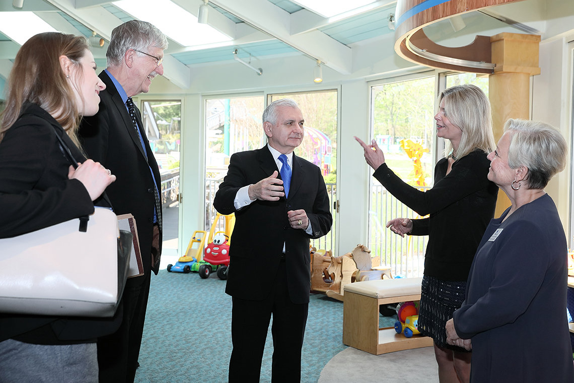 Rhode Island Sen. Jack Reed gets a tour of the Children's Inn.