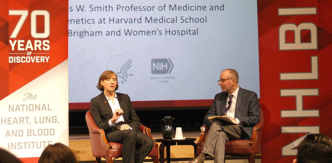 Dr. Christine Seidman and Dr. Jonathan Kaltman on stage.