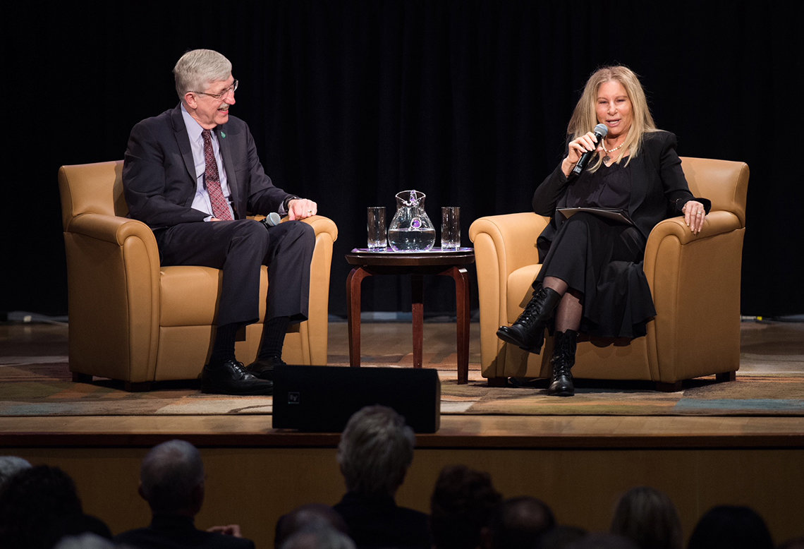 NIH director Dr. Francis Collins chats with Streisand on the stage.