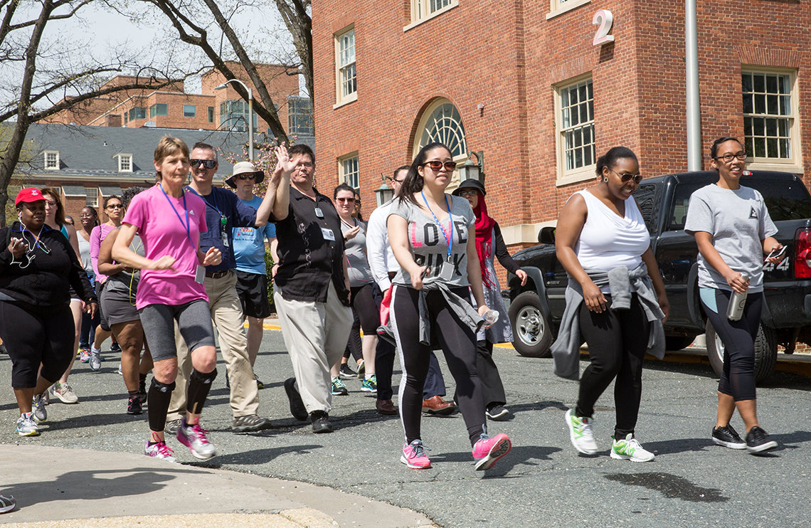 People participating in the walk/run on campus.