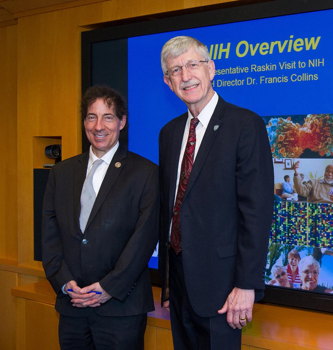 Rep. Jamie Raskin meets NIH director Dr. Francis Collins.