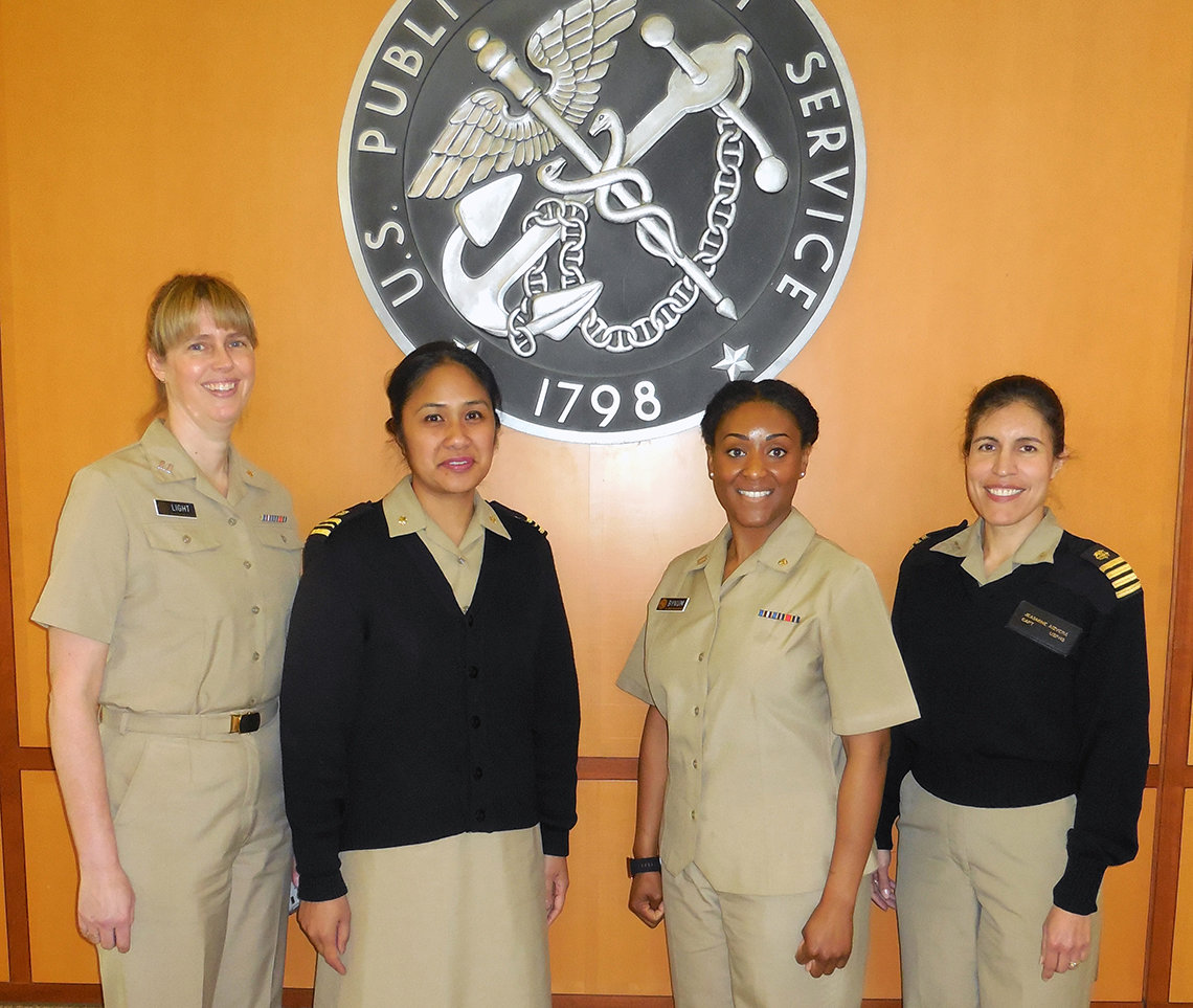 Lt. Heather Light, Lcdr. Nicole Pascua, Lt. Jamillah Bynum and Capt. Jeasmine Aizvera.