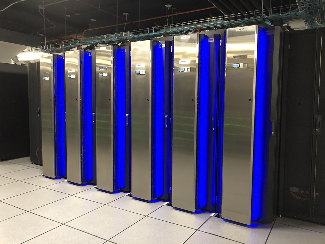 The Biowulf supercomputer with its cooling system in a server room