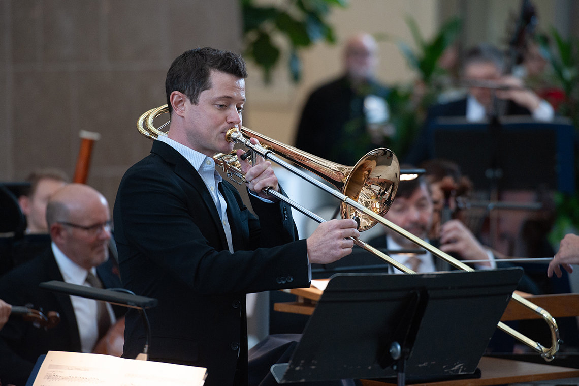 NSO trombonist David Murray performs.