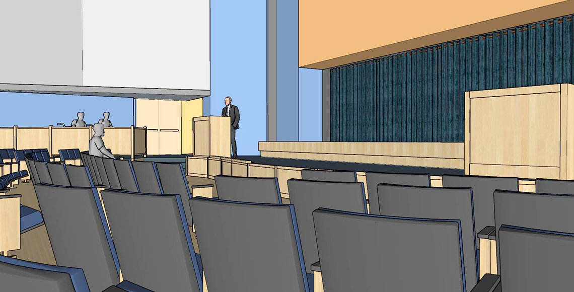 Rendering of stage renovation as viewed from audience