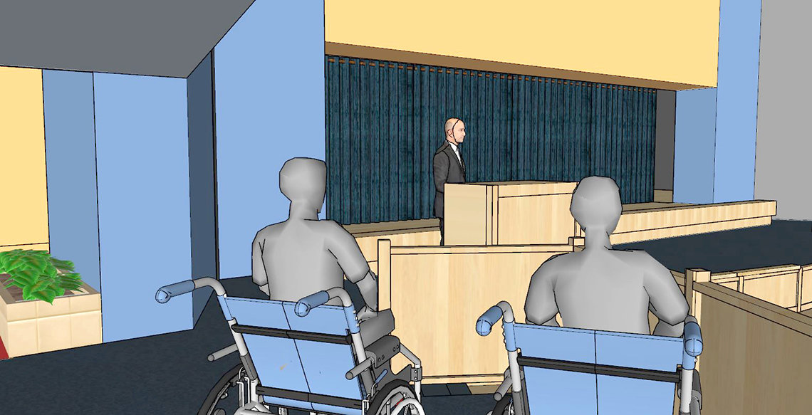 Rendering of stage renovation as viewed from new section for wheelchairs