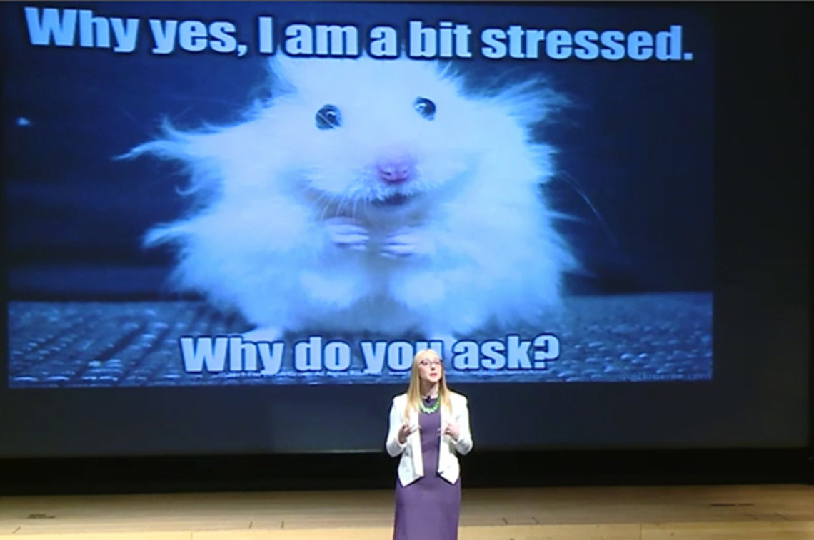 Dr. Eurich stands on stage beside slide that reads: Why yes, I am a bit stressed. Why do you ask?