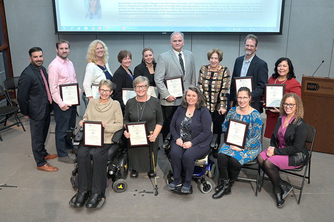 Group photo of several awardees and members of NIH's Office of EDI