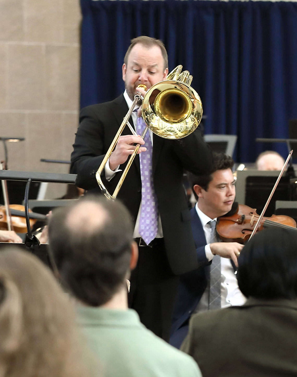 Matthew Guilford plays the bass trombone