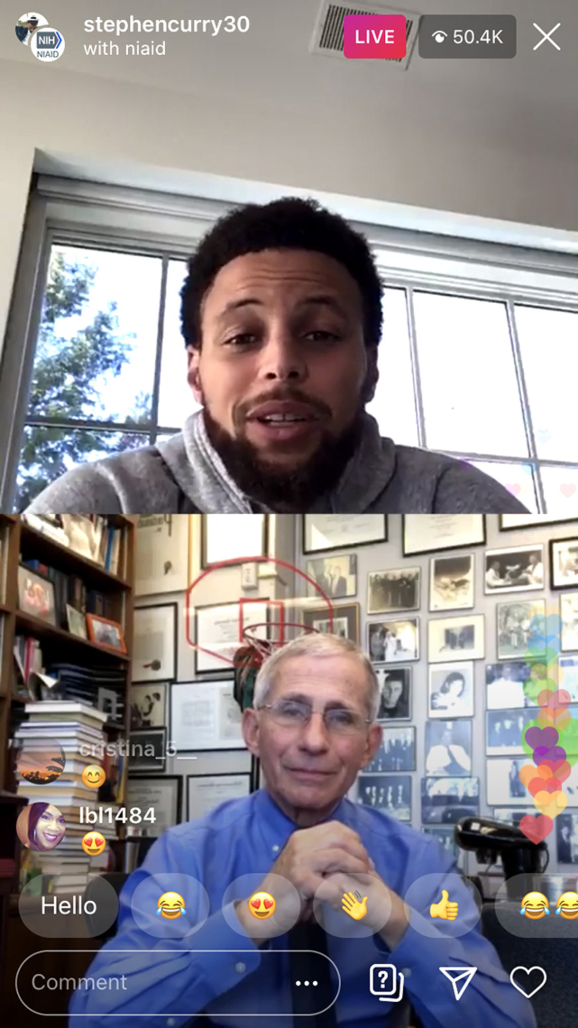 Instagram screen showing Steph Curry and Dr. Anthony Fauci