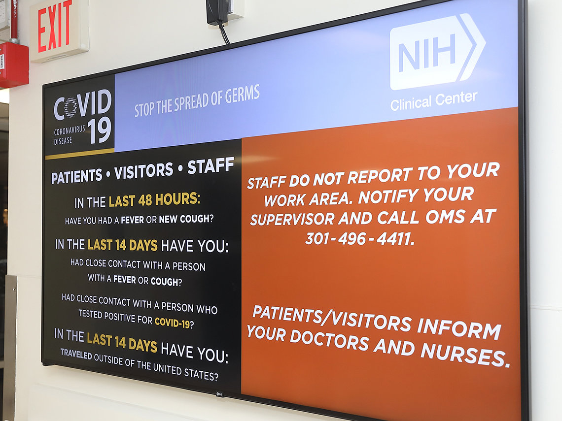 Signage advises patients, staff and visitors about new CC safety policies due to COVID-19 precautions.