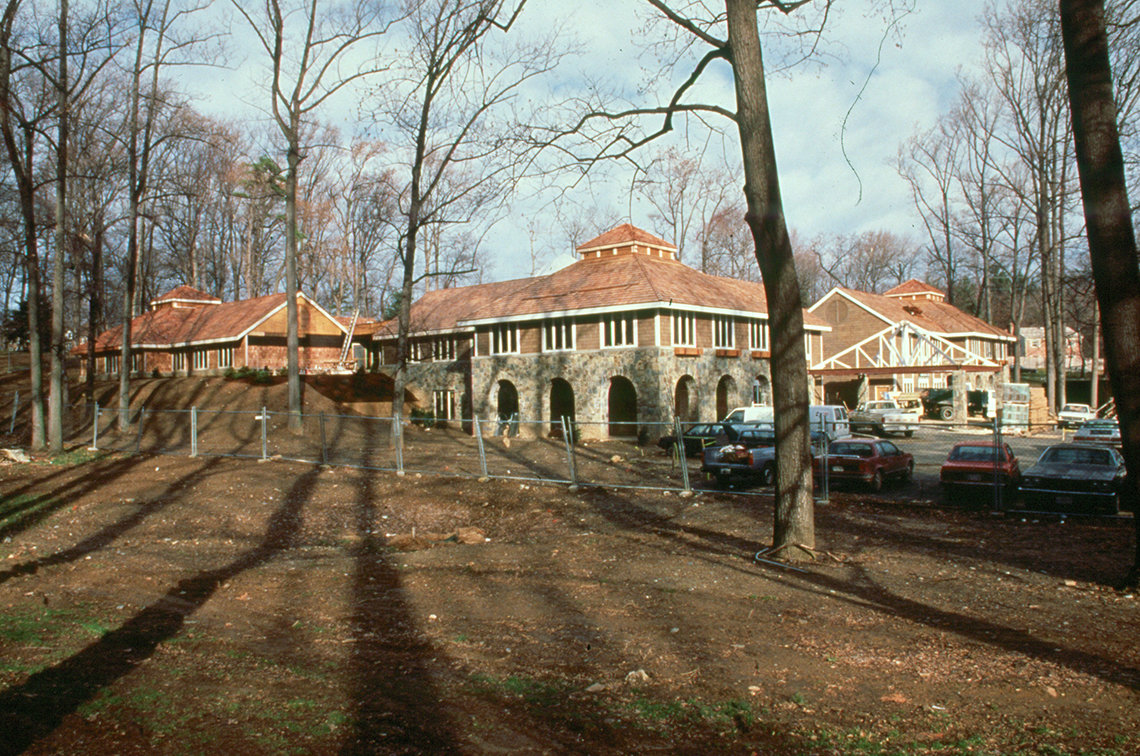 A view of the inn's exterior during construction