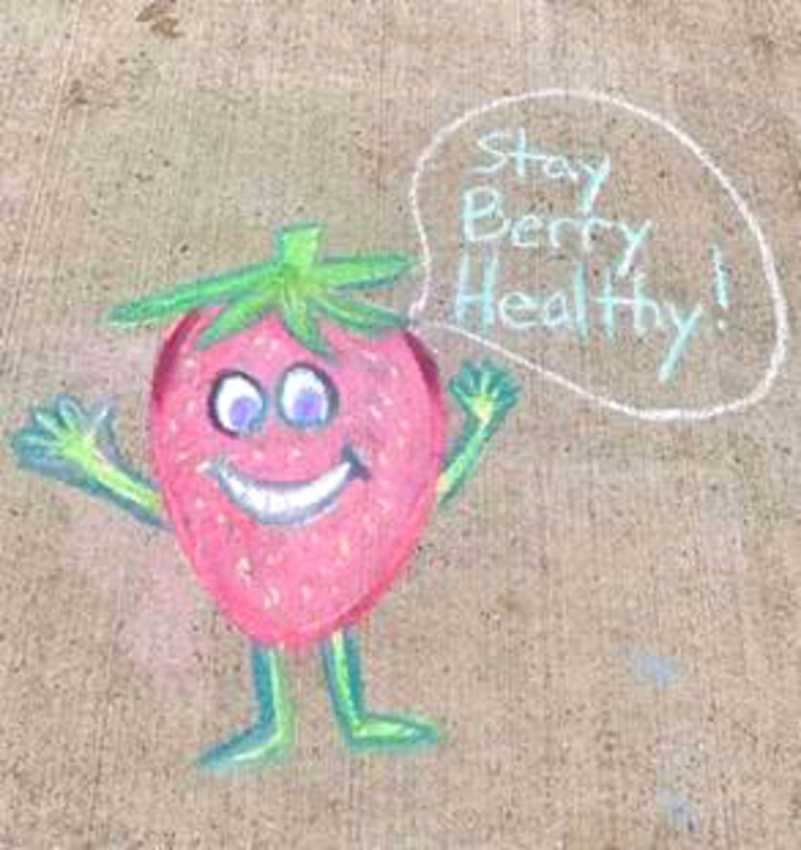 """A cartoon strawberry says """"Stay berry healthy"""""""