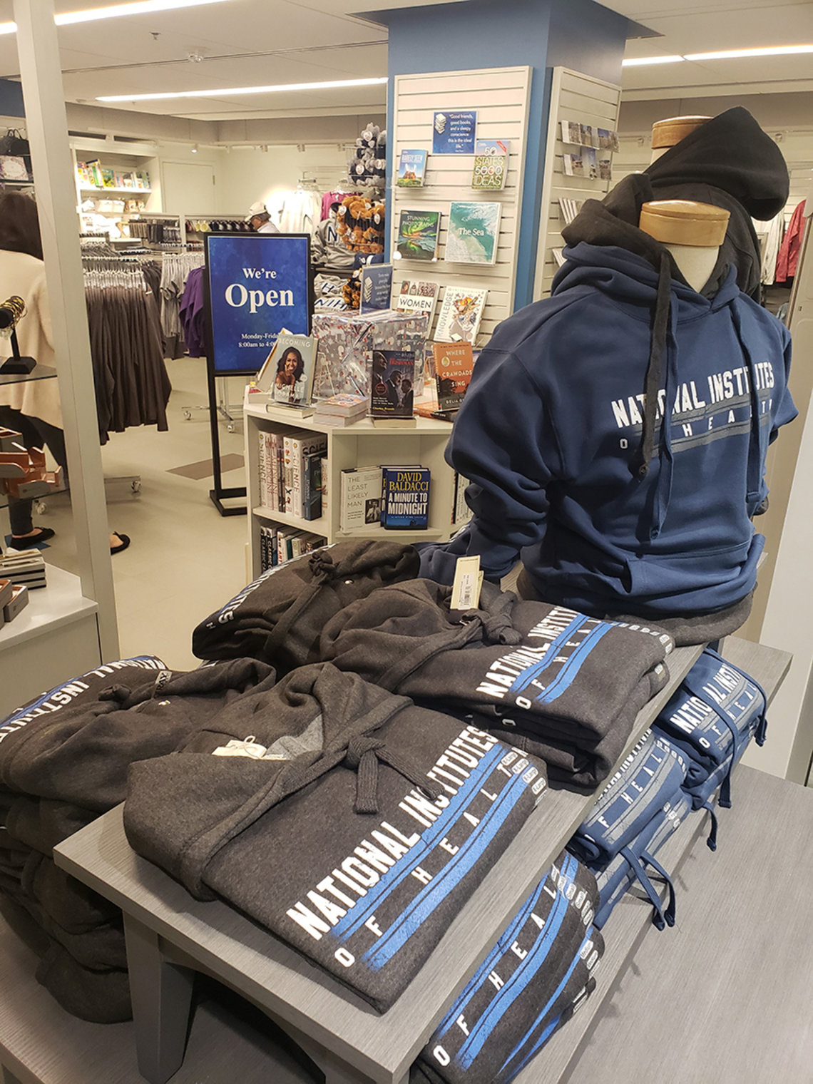 Clothing, mugs and other items with NIH's logo, greeting cards and more at new FAES gift shop