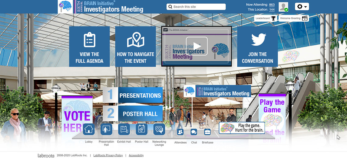 screenshot provides a look at the virtual meeting space hosted on the LabRoots website