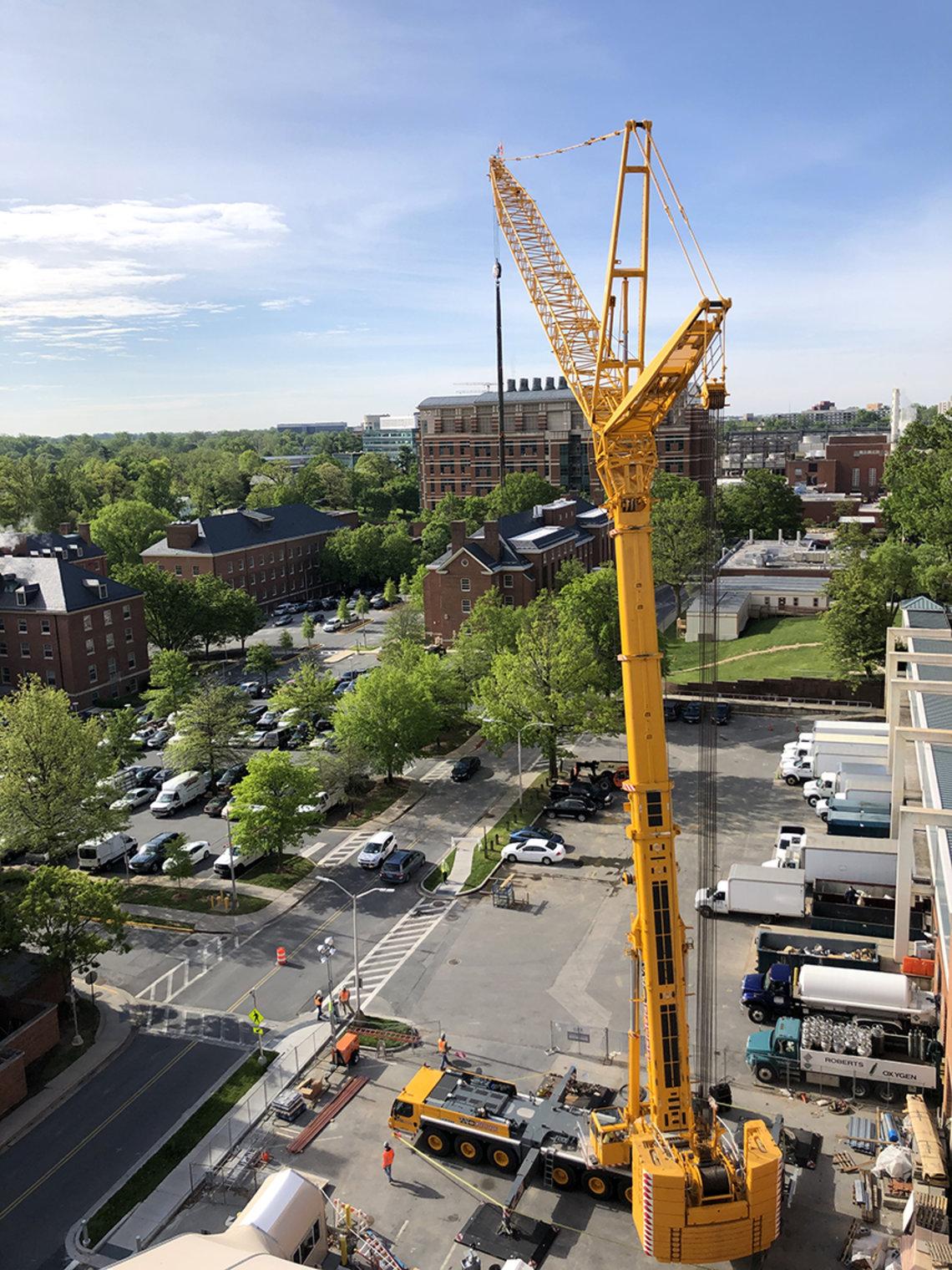 Tall crane against skyline