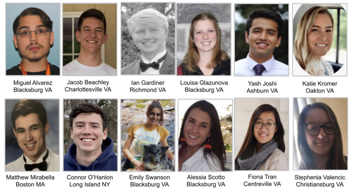 A slide shows head shots of the 12 students in Dr. Ewing's history class.