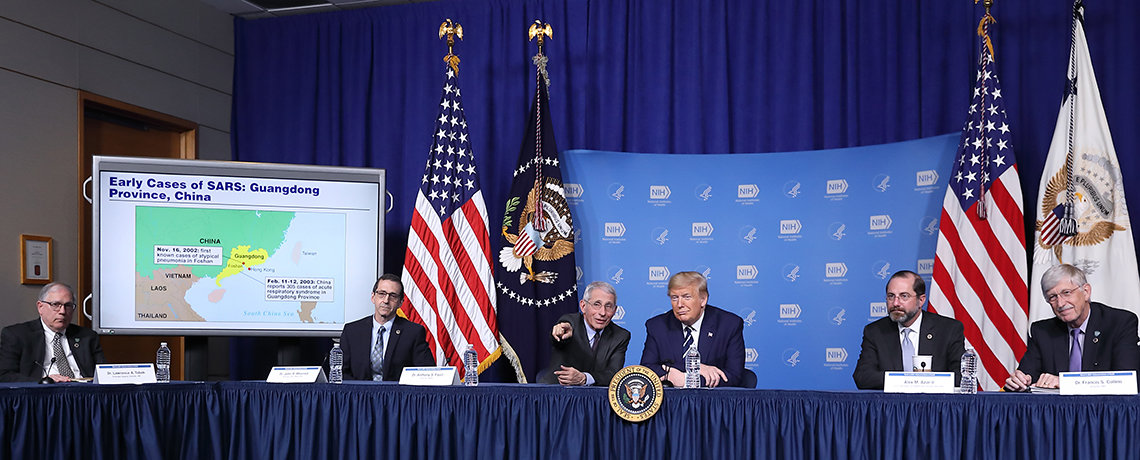 President with NIH and HHS leadership