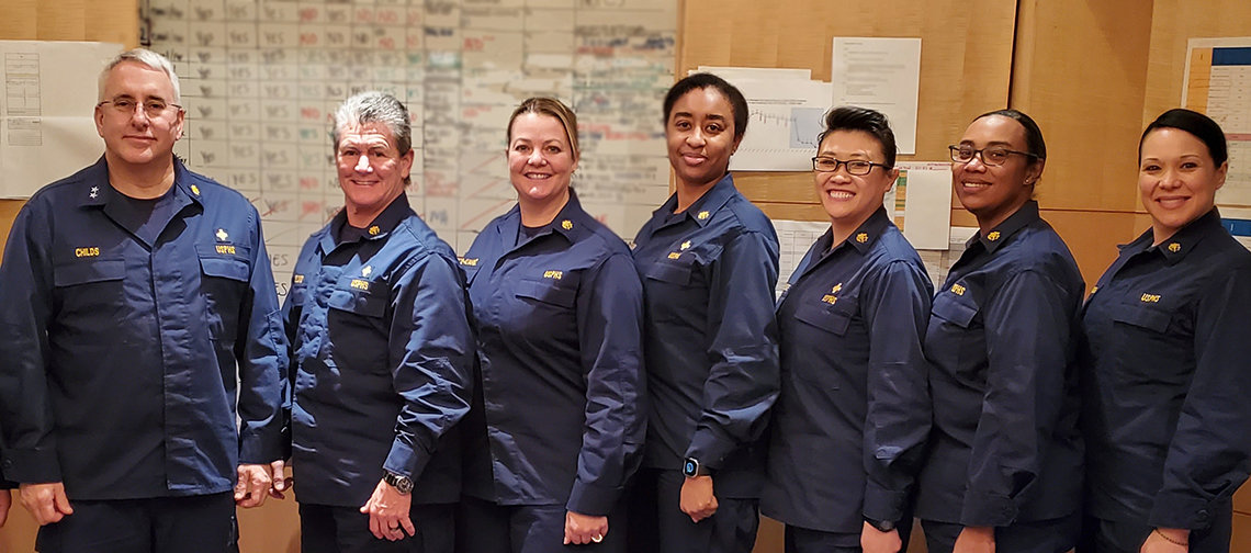 Group photo of uniformed public health service officers who participated in March 2020 mission.