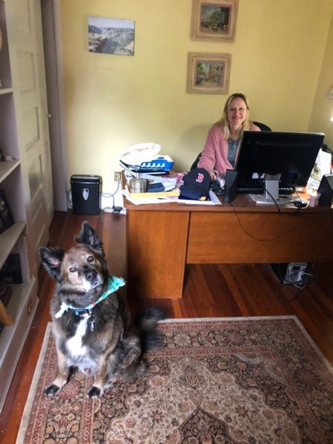 Worker at desk with onlooking pup.