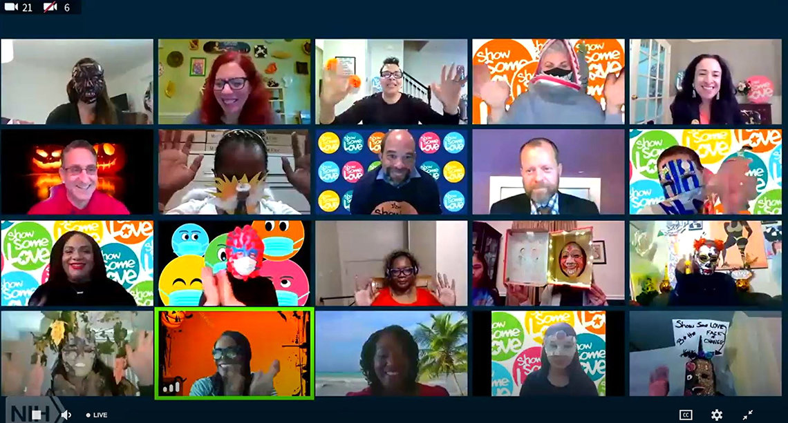 A screenshot showing grid of individuals attending online Zoom session