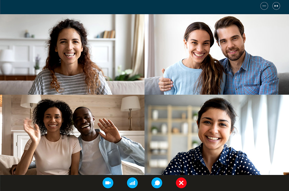 People from multiple locations on a video-conference chatting together