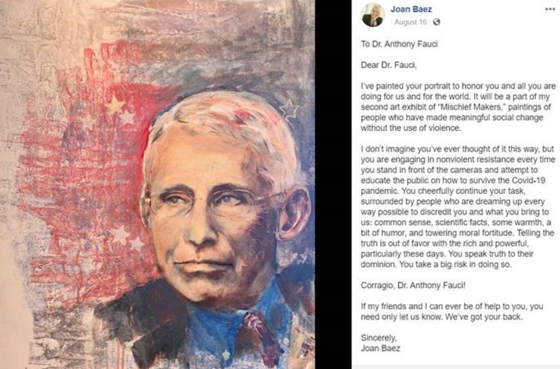 A painting of Fauci along with a grateful letter from the painter: Joan Baez