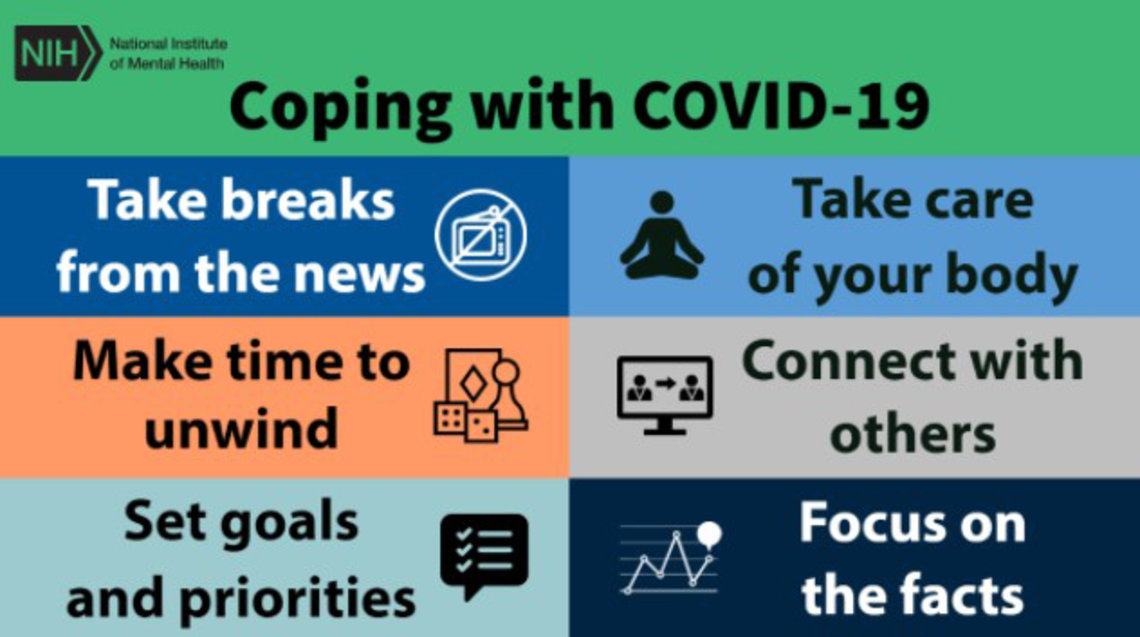 A colorful infographic for coping with Covid-19 reminds readers to take a break from the news, make time to unwind, set goals and priorities, take care of your body, connect with others and focus on the facts.