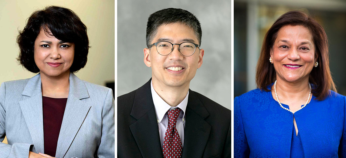 Head & shoulder shots of Byrnes, Chiang and D'Souza