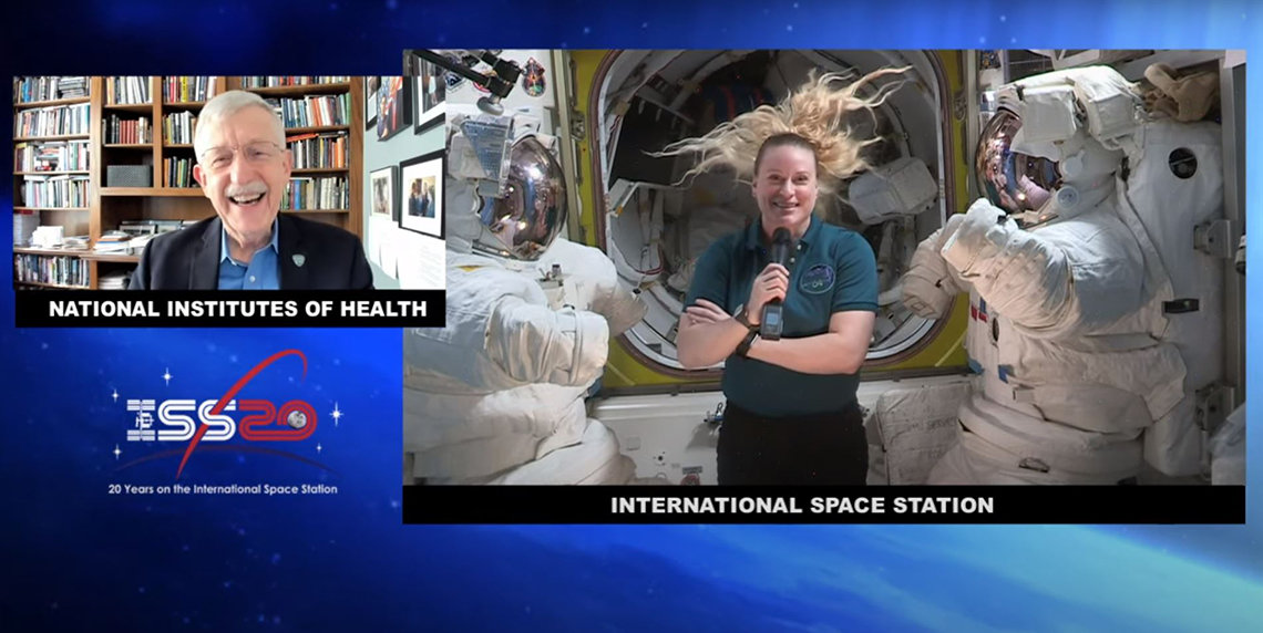 Collins speaks from his office and Rubins speaks in a microgravity environment, so her her floats