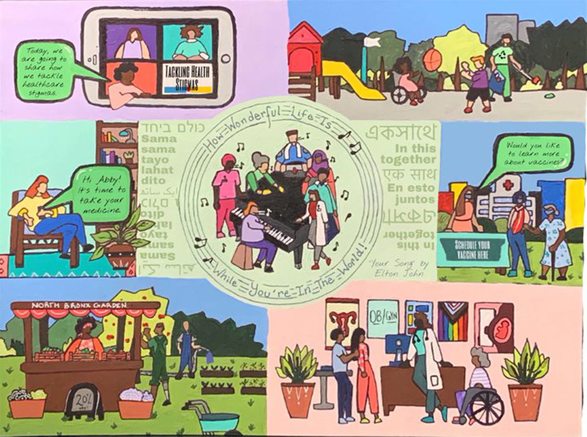 """Multiple scenes of diversity around the Bronx, New York: in a doctor's office, a playground, a vaccination tent, a kiosk in a public garden - with """"in this together"""" in multiple languages and musicians and musical notes in the middle showing all in harmony."""