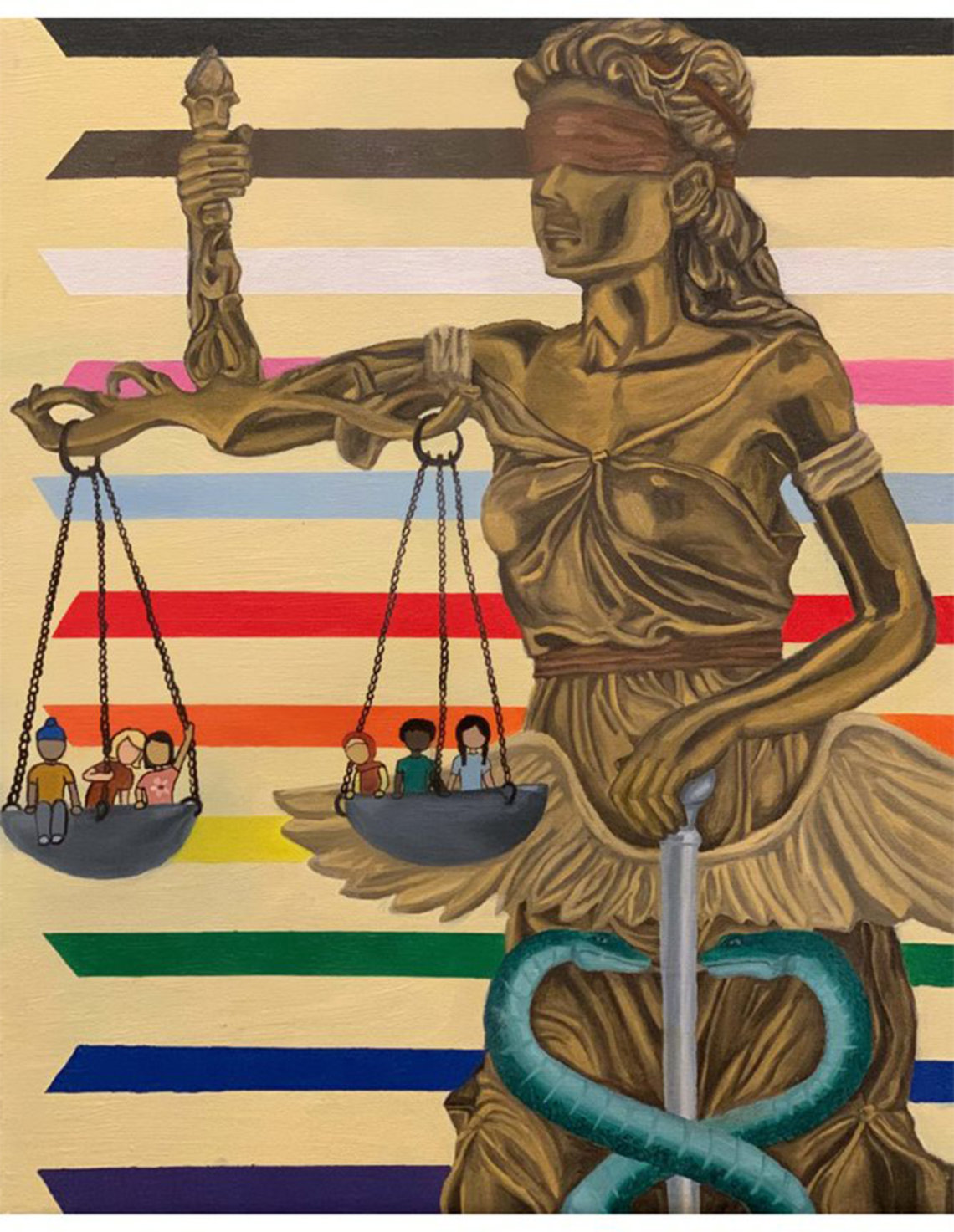 A golden statue of Lady Justice holds up the staff-wrapped-with-snakes symbol of medicine and two equal scales, each filled with kids of different races, in front of the stripes of the Pride Flag.