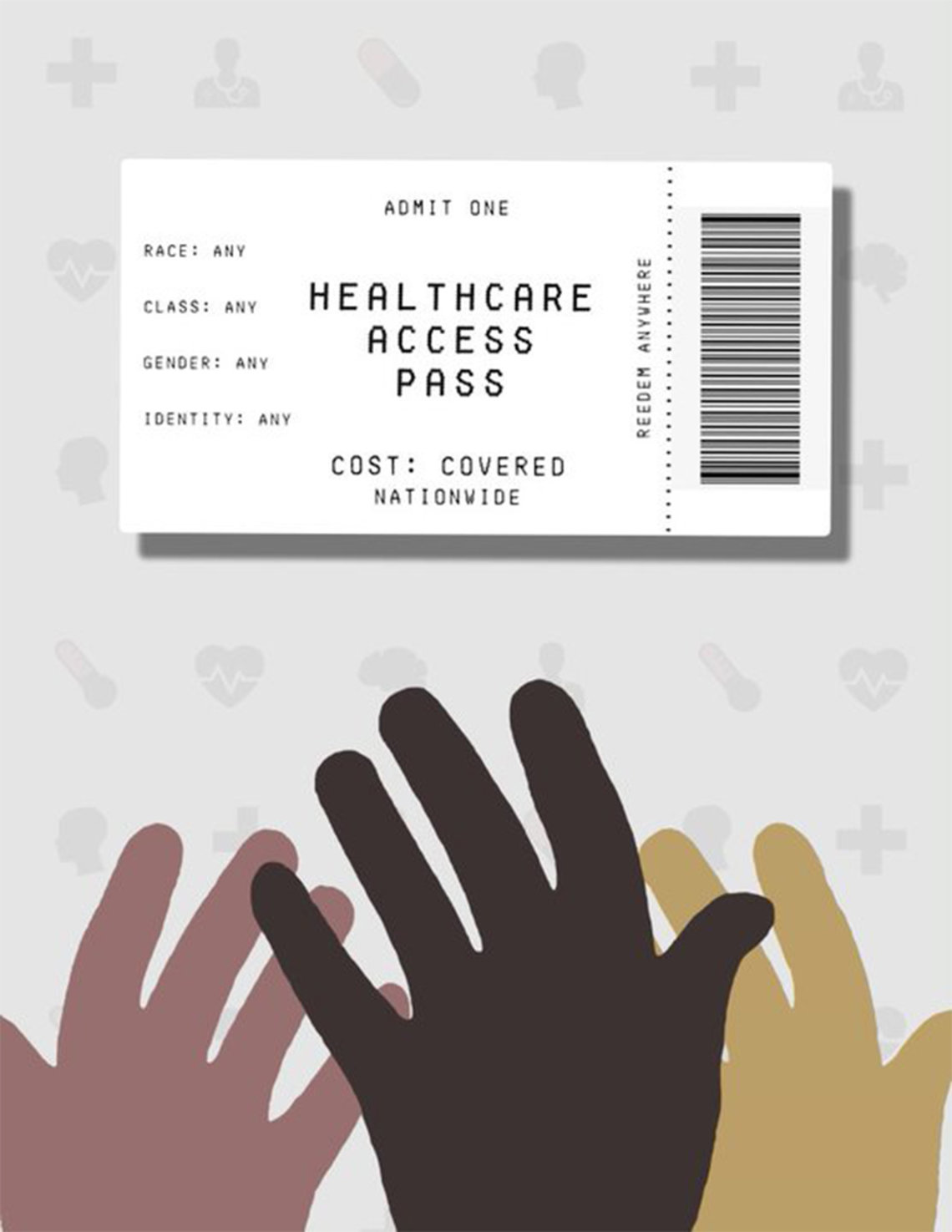 Brown and beige hands reach up toward a paper with a barcode that reads: Healthcare Access Pass