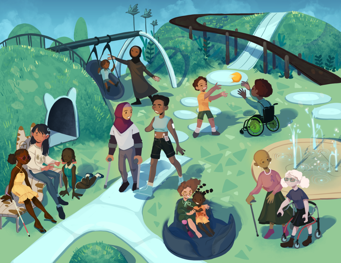 Children of different races swing, play ball, ride bikes and walk on a playground full of shrubs and other greenery.