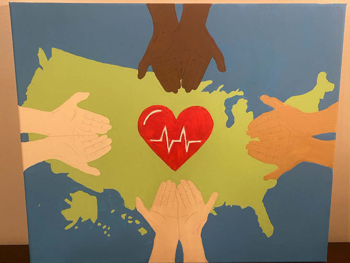 A red heart with an EKG graph in it, hovers over a green map of the US, as pairs of hands of different races, palms up, reach over from all sides.
