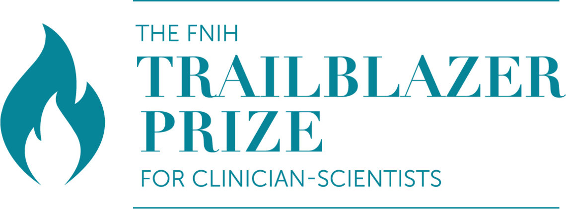 """The logo features the words """" The FNIH Trailblazer Prize for Clinician-Scientists"""" to the left of an illustration of a flame"""