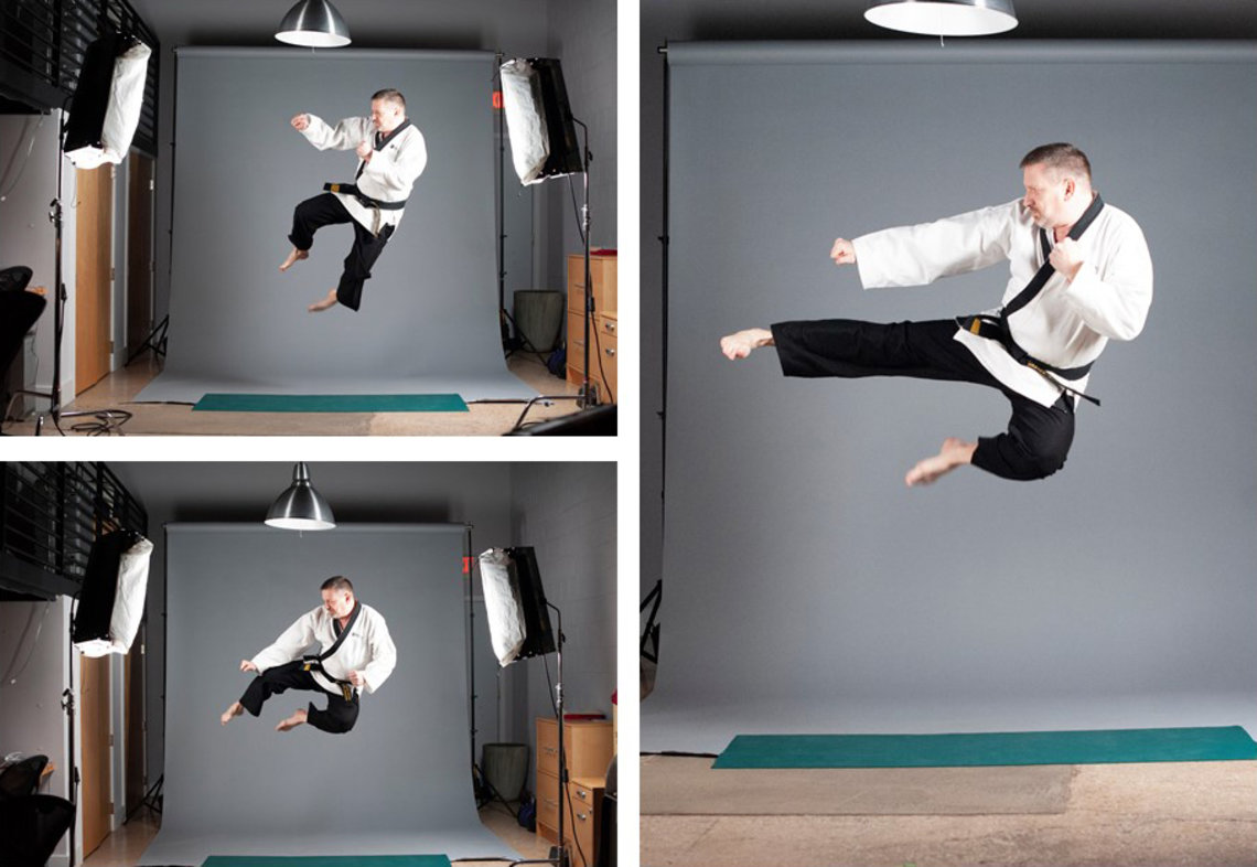 David Winter in a series of three martial arts photos showing him jumping high into the air and kicking.