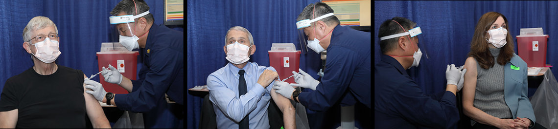 Kim gives injections individually to Collins, Fauci and McGowan