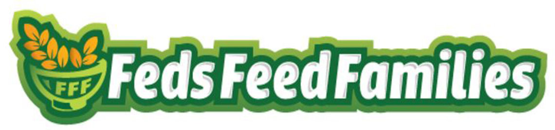 Illustration of green cartoon bowl with golden wheat sprig and green stylized Feds Feed Families headline