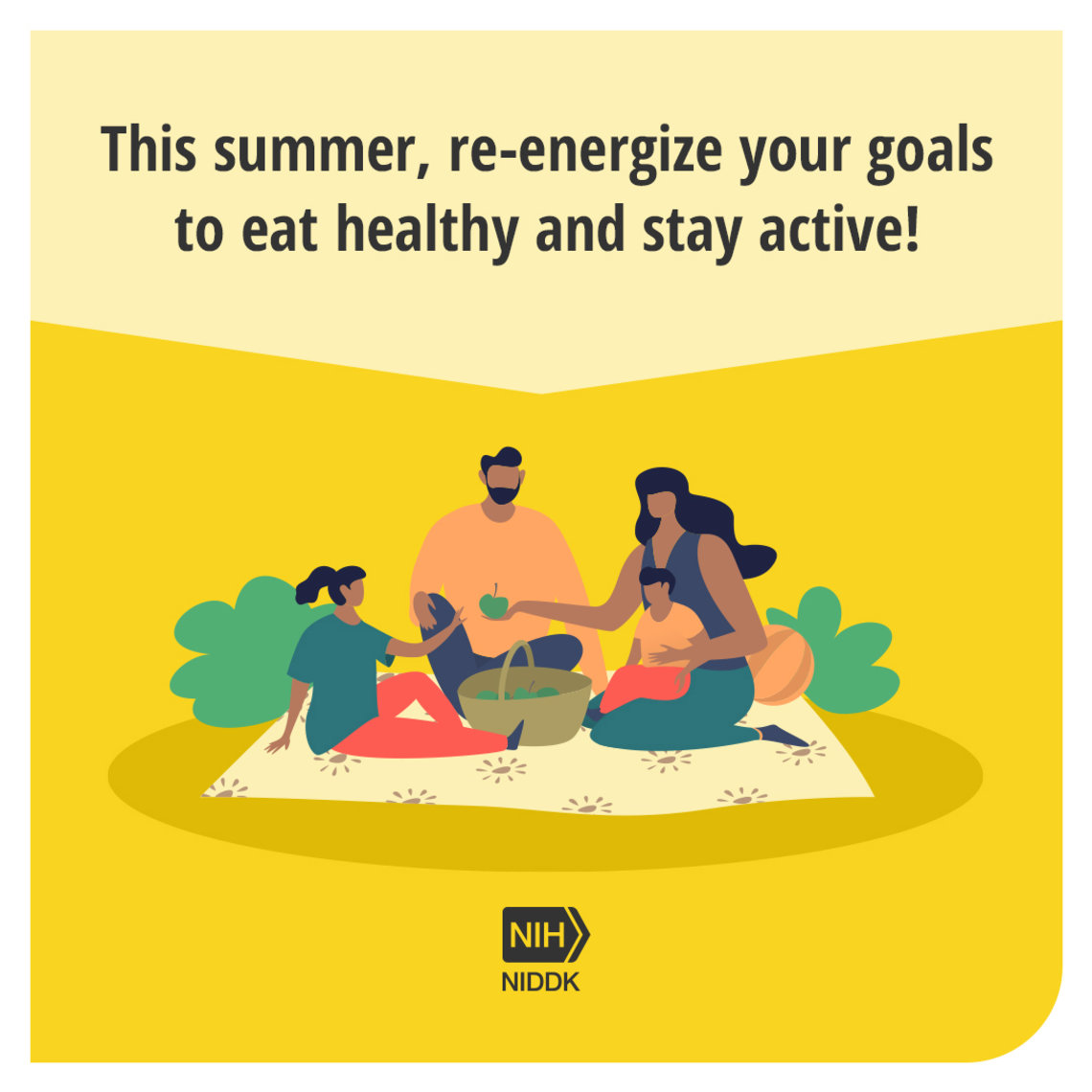 Yellow graphic box with healthy living tip and illustrated family on a picnic