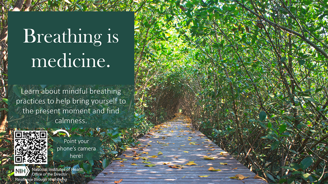 A Zoom background shows trees and a leaves-covered pathway, with the words Breathing is Medicine, and a QR code to scan for more resources.