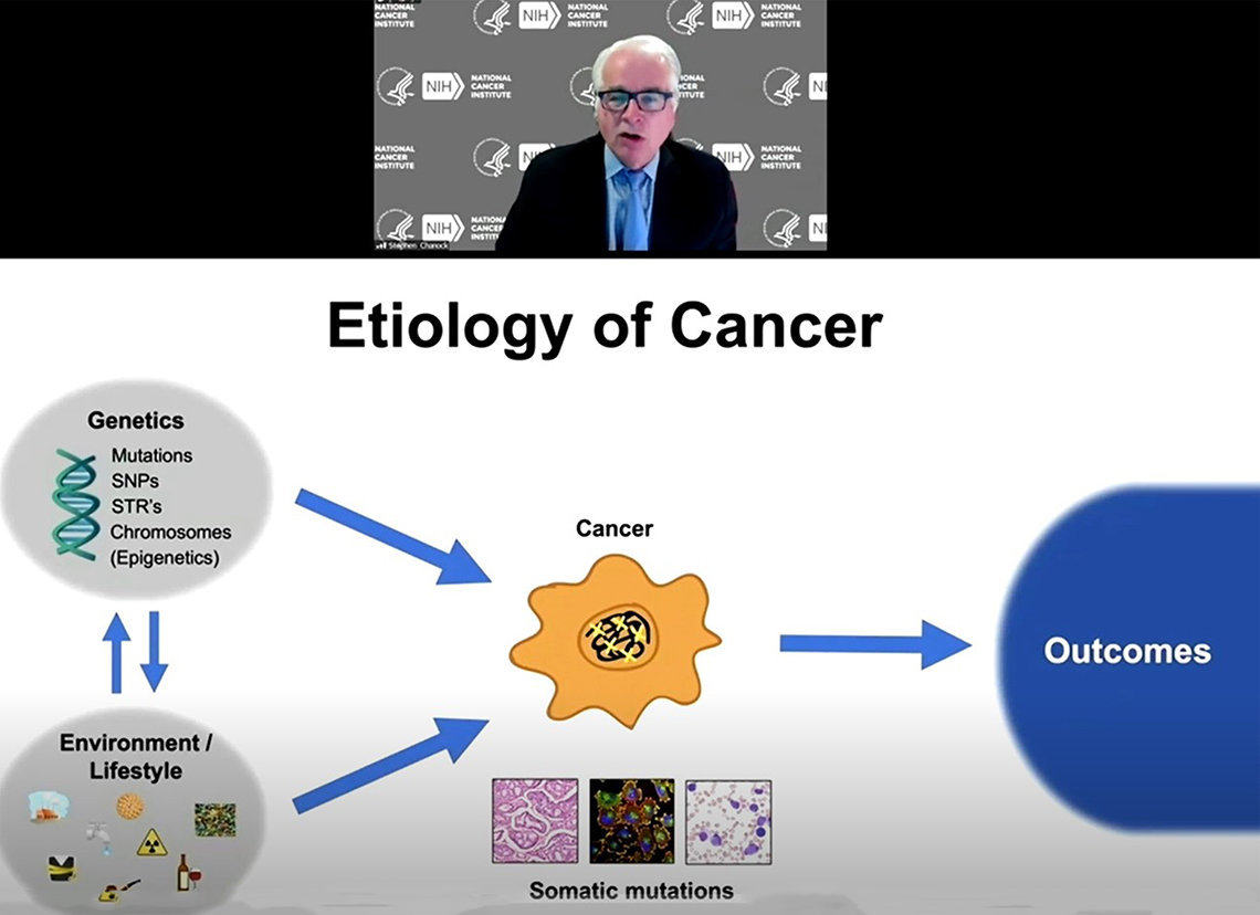 Chanock speaks, shown above a slide titled Etiology of Cancer, showing genetics and environmental factors that combine with somatic mutations to cause cancer.